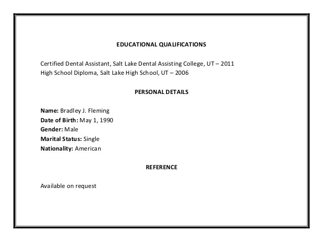 Dental Hygiene Resume Qualifications Educational Certified Assistant Salt Lake