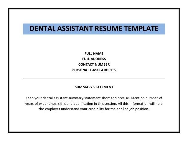 Resume Template For Dental Assistant. Dental Assistant Resume