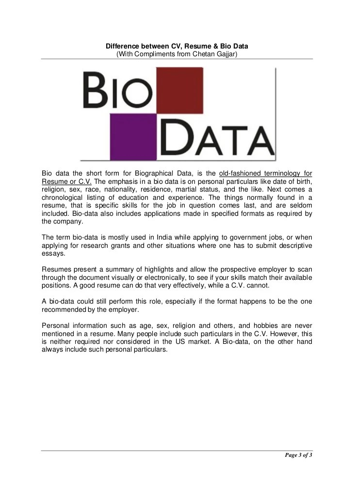format and 6 samples bio data form sample