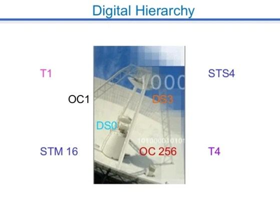 Digital Hierarchy Digital Hierarchy T1 STS4 OC1 DS3 DS0 STM 16 OC 256 T4