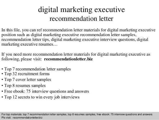 Recommendation letter for digital marketing manager dulahotw interview questions and answers free pdf ppt file digital marketing executive recommendation digital marketing executive recommendation letter expocarfo Images