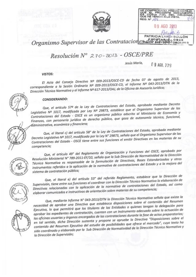 directiva 004 2013 osce pre sobre elaboracion del resumen ejecutivo