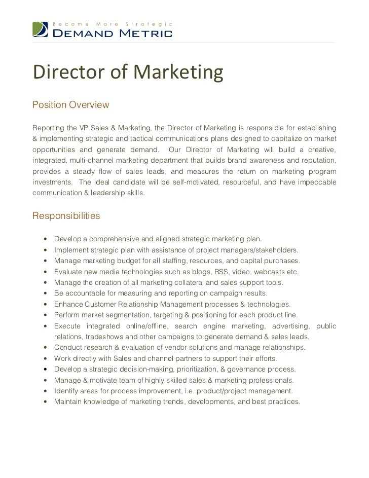 sales amp marketing the director of marketing is responsible for est