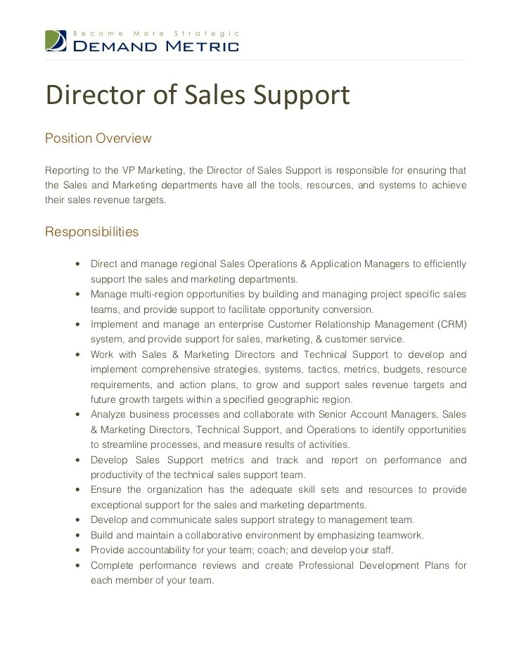 director of sales supportposition overviewreporting to the vp