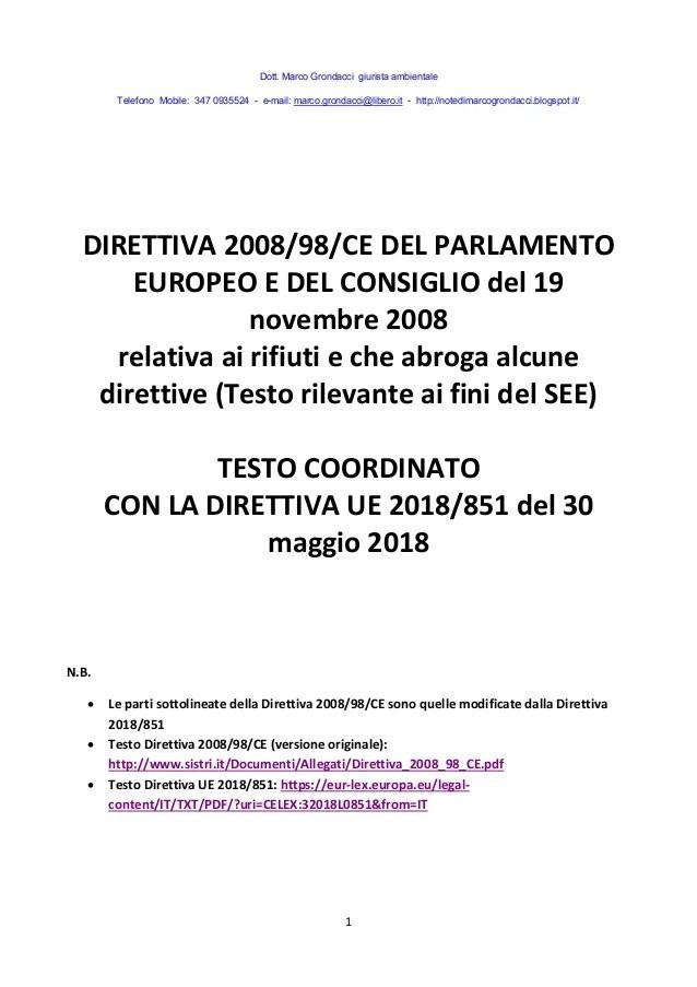 Direttiva Rifiuti 2008 Testo Coordinato Al 2018