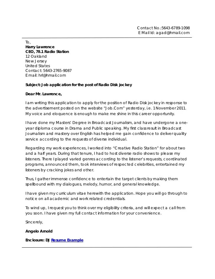 cover letter broadcasting internship