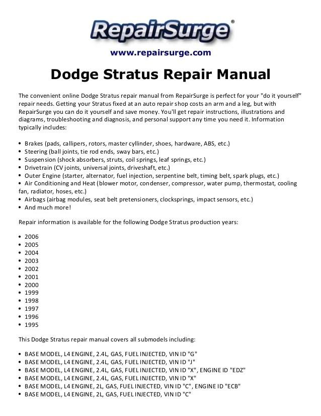 Dodge stratus repair manual 1995 2006