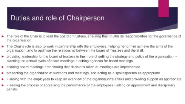 Chairperson Role Description