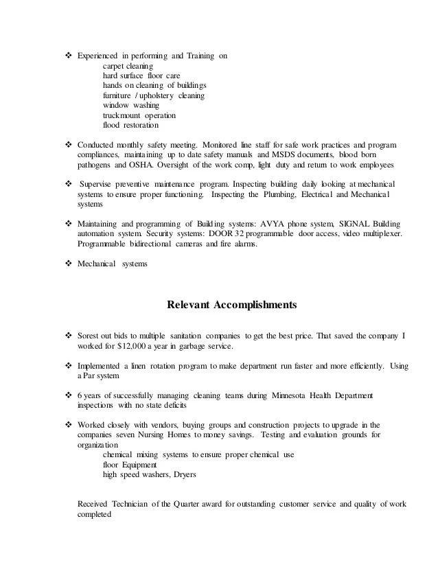 carpet cleaning technician resume home plan