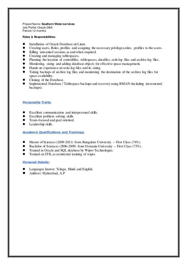Oracle Resume Samples Vosvetenet – Sample Resume for Oracle Dba