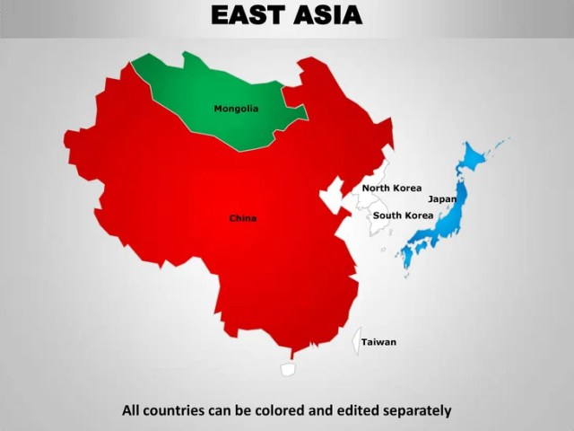 East asia editable continent map with countries     edited separately  14  EAST ASIA