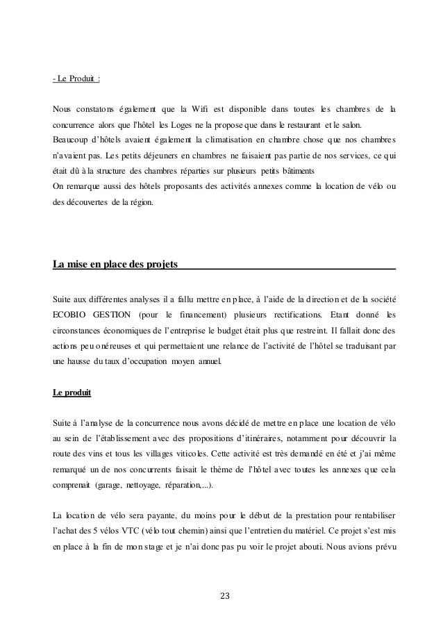 Exemple Rapport De Stage Bts Hotellerie Restauration