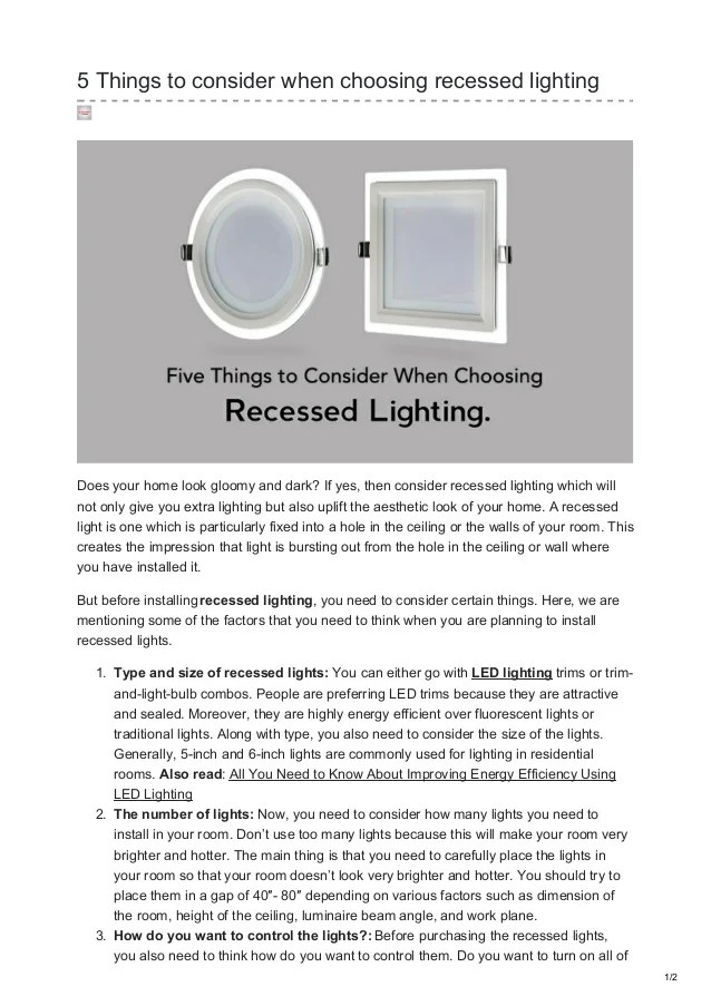 to consider when choosing recessed lighting