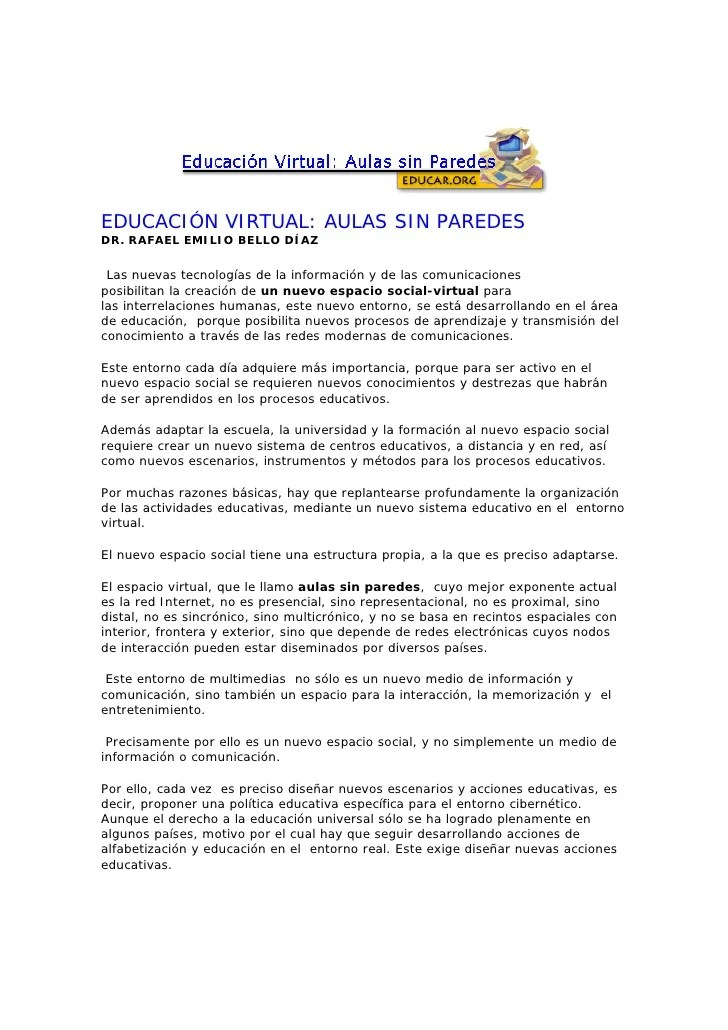 Eduacacion Virtual: aula sin paredes