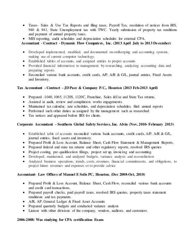 Tax Accountant Resume   Cipanewsletter
