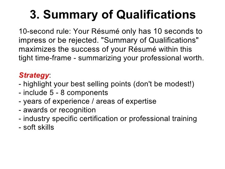 Qualification In Resume. Qualifications On Resume Examples Resume
