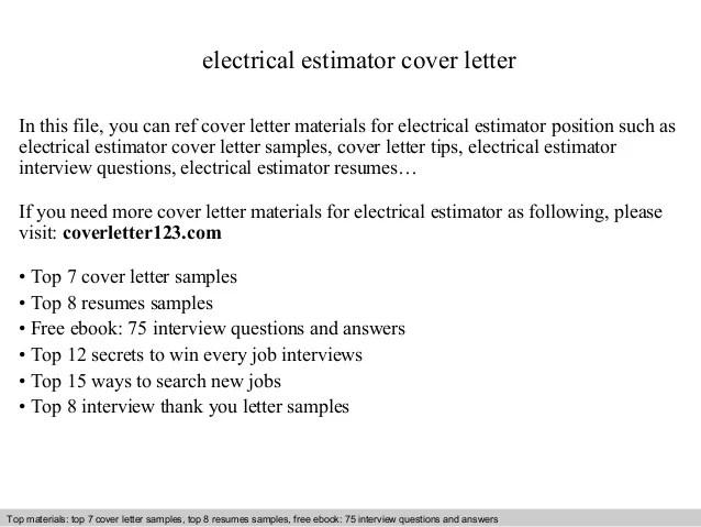 electrical estimator cover letter