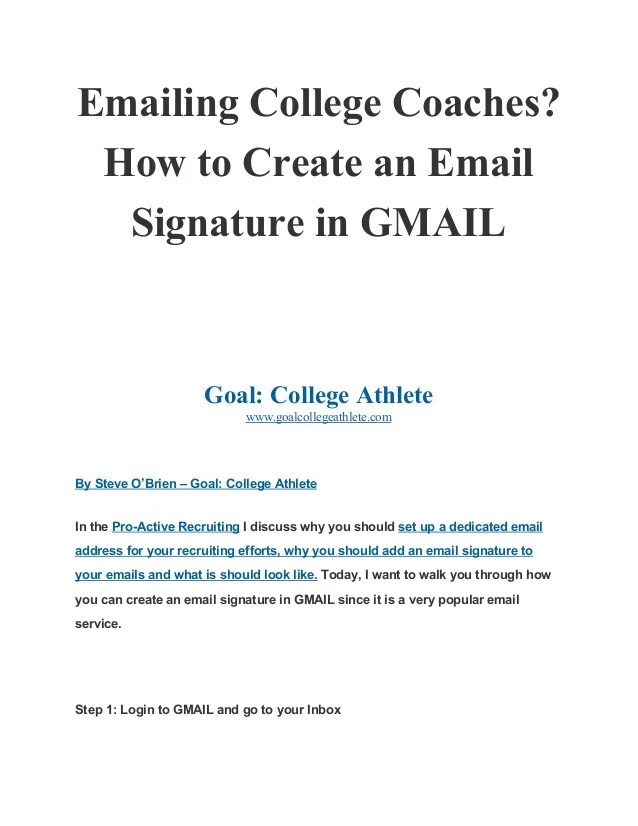 Emailing College Coaches How To Create An Email Signature