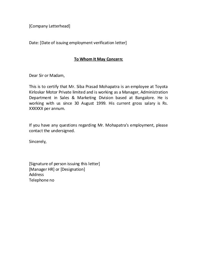 Doc12751650 Previous Employment Verification Letter – Previous Employment Verification Letter