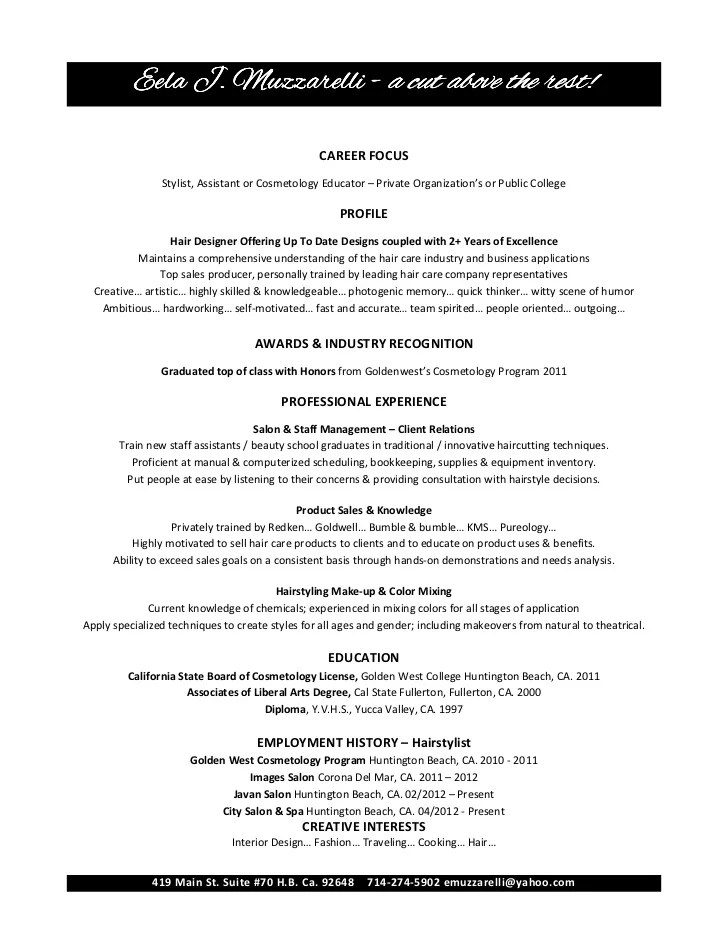 Cosmetologist Resume Examples Sample Cosmetology Resume Examples  Cosmetologist Resume Examples
