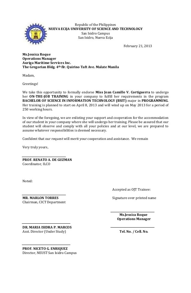 ojt resume paper topics about juvenile delinquency ojt resume ojt – Endorsement Letter for Employment