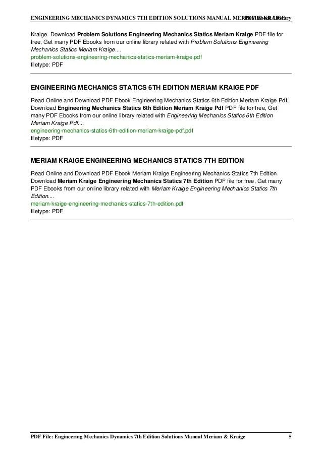 Solution Manual Statics Meriam Kraige 6th Edition Top Engineering