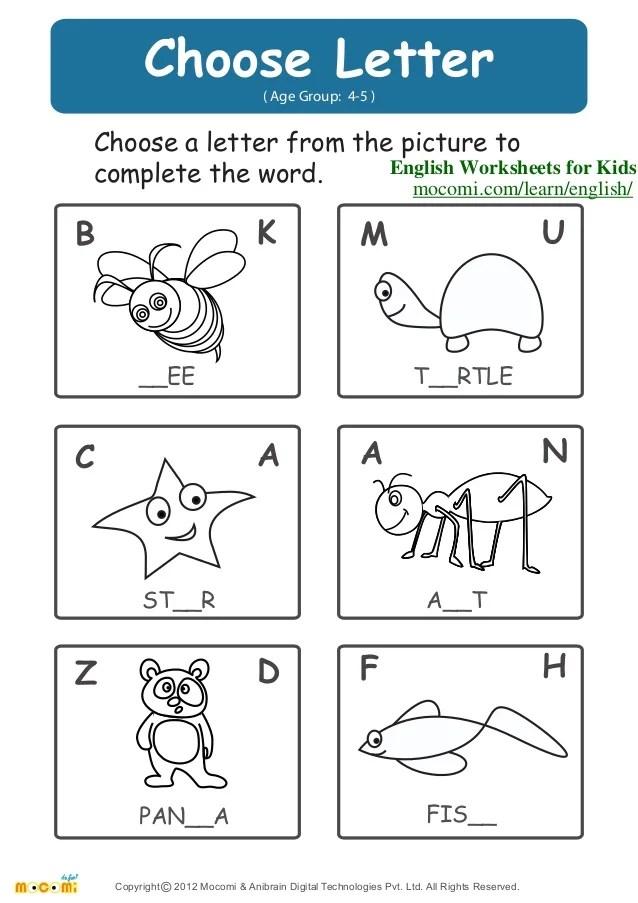 Choose Letter English Worksheets For Kids Mocomi Com