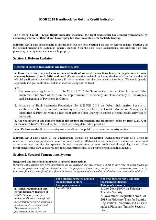 Eodb Indonesia 2018 2019 Getting Credit Handbook