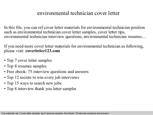 Environmental Technician Cover Letter In This File You Can Ref Materials For