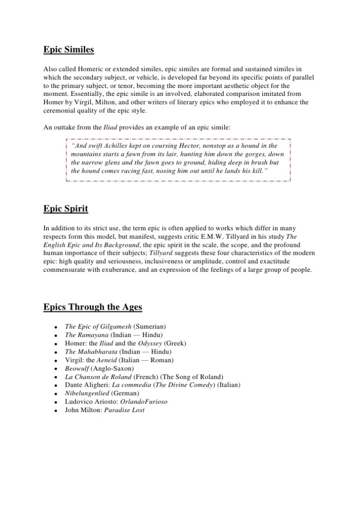 Epic Simile Example Gallery Resume Cover Letter Examples
