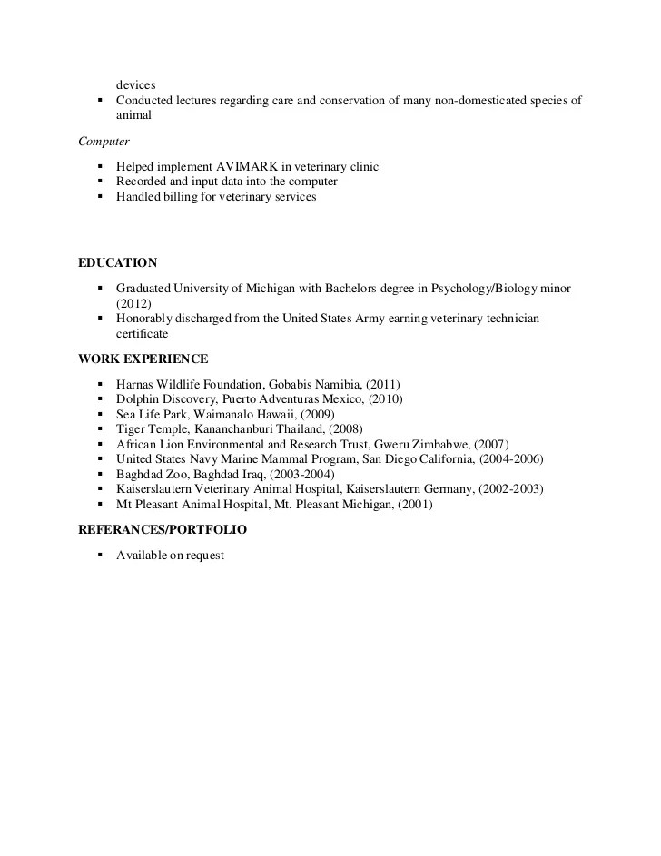 Sample Veterinary Technician Resume | Resume Format Download Pdf