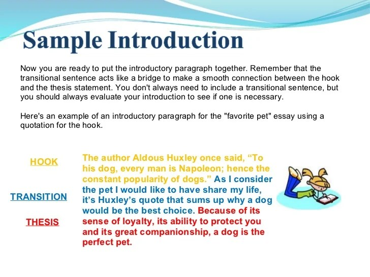example of introduction essay with thesis statement