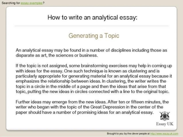 define analytic essay Vital stages of writing an analytic essay the main idea of the paper is to clearly define core facts and ideas and introduce them separately for the most thorough analysis.