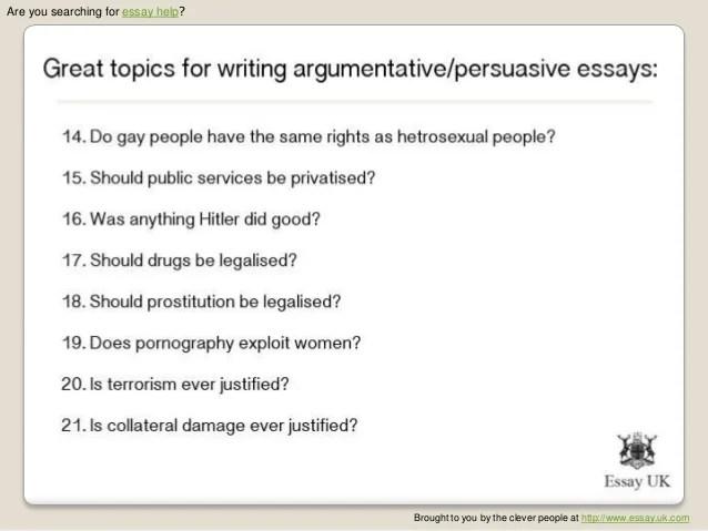 Good persuasive essay title?