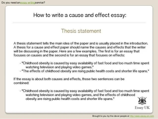 Causes And Effect Essay Example. Related Essays. Cause And Effect