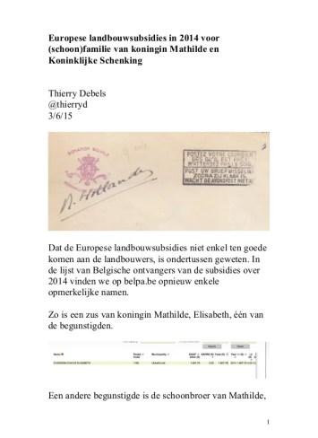 Europese landbouwsubsidies voor familie van koningin Mathilde