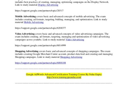 Free Professional Resume » google adwords certification course ...