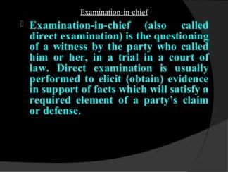 Evidence-Examination of Witness