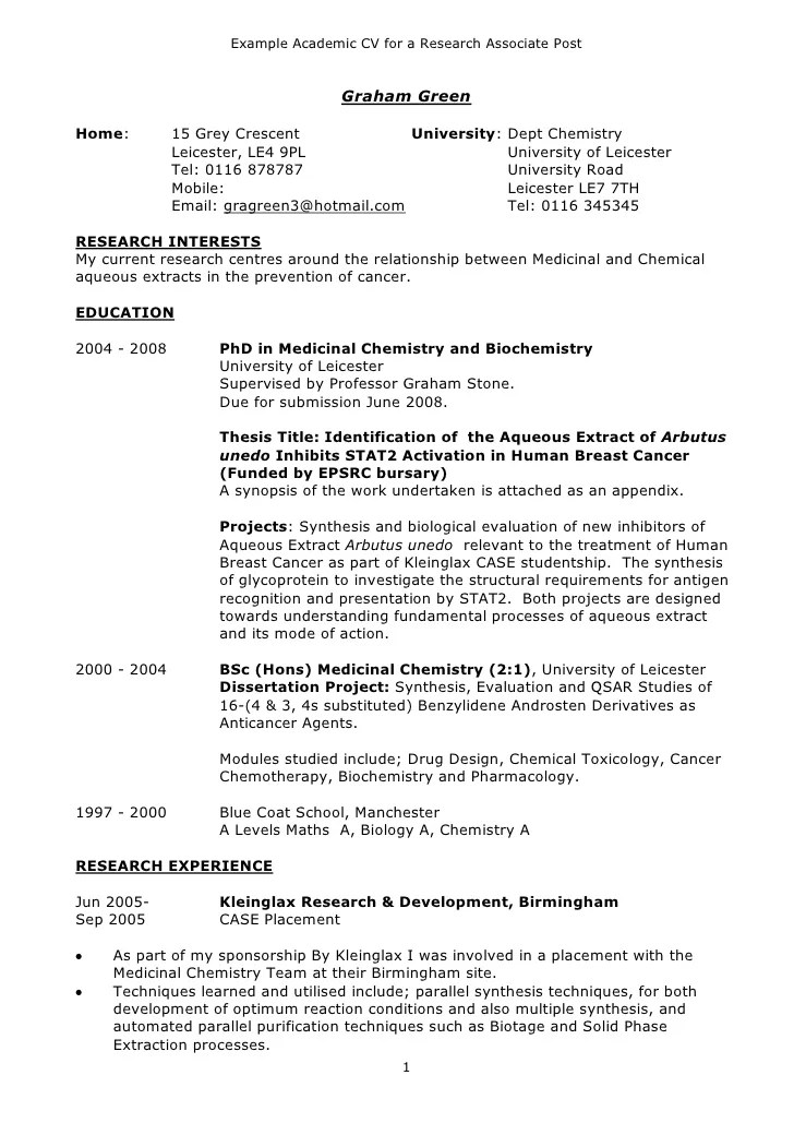 Resume Format For Phd  Resume Format