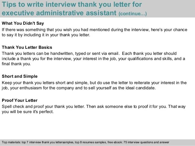 executive interview thank you letter executive administrative