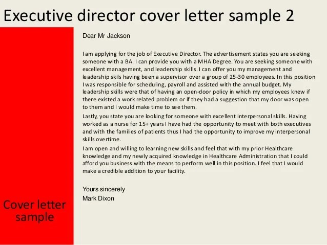 Letter Sample Manager Profit Executive Director Cover