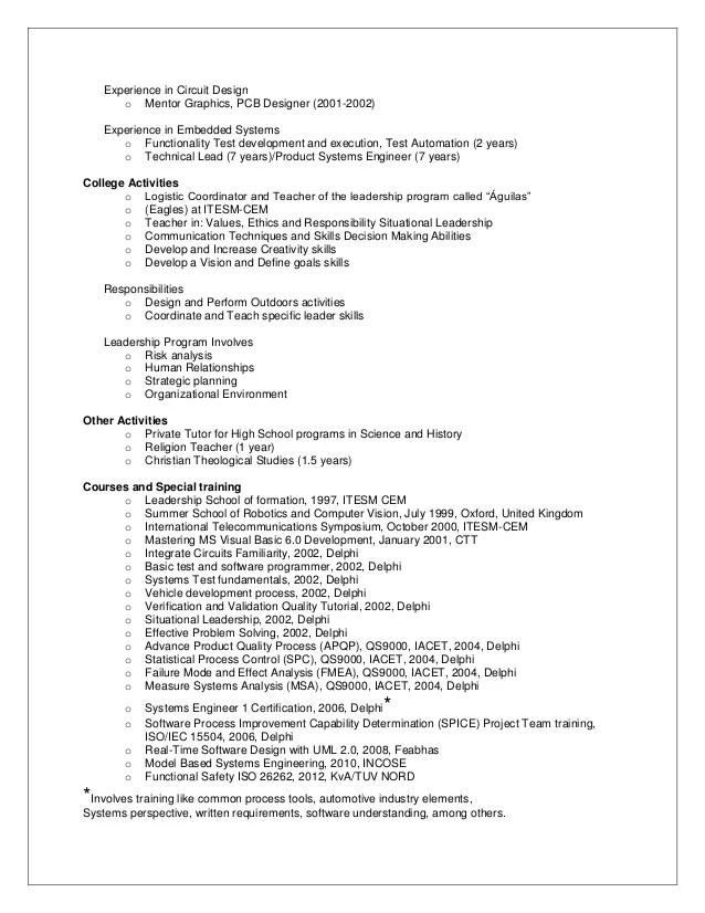Embedded System Architect Resume - Dalarcon.com