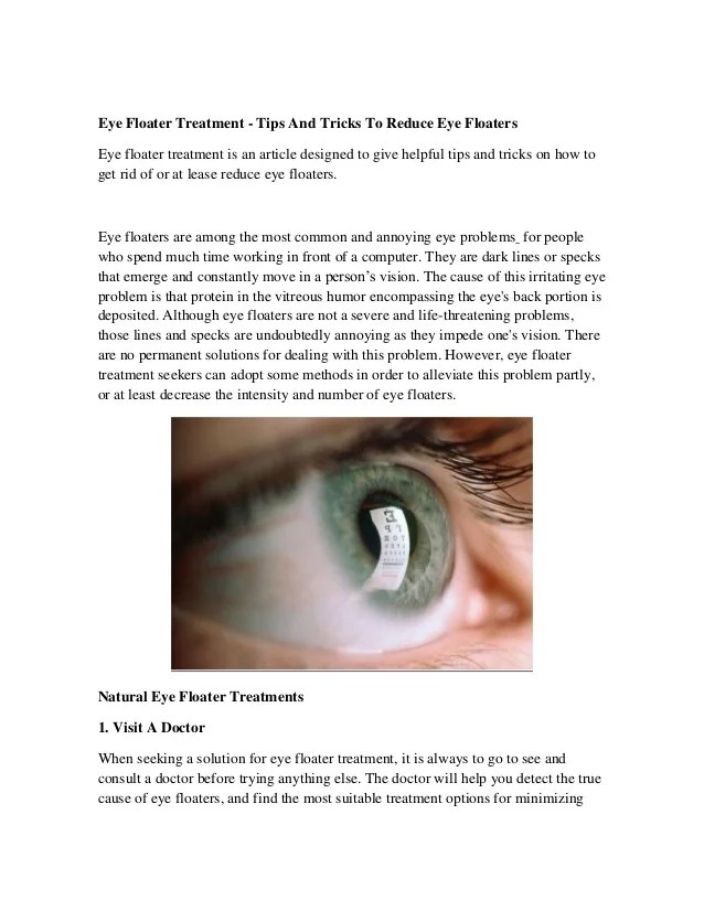Eye Floater Treatment - Tips And Tricks To Reduce Eye Floaters