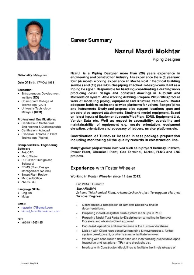 Piping Drafting Resume Examples Front Page Template For Engineer 3 Electrical Draftsman Png Draftsman Resume Resume Nazrul Mazdi Mokhtar Piping Designer Perfect Resume Example Resume And Cover Letter