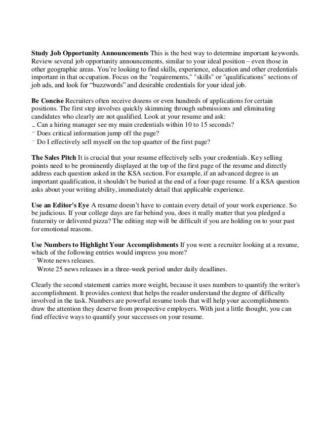 Federal Resume Federal Resume Federal Resume Template 10 Free