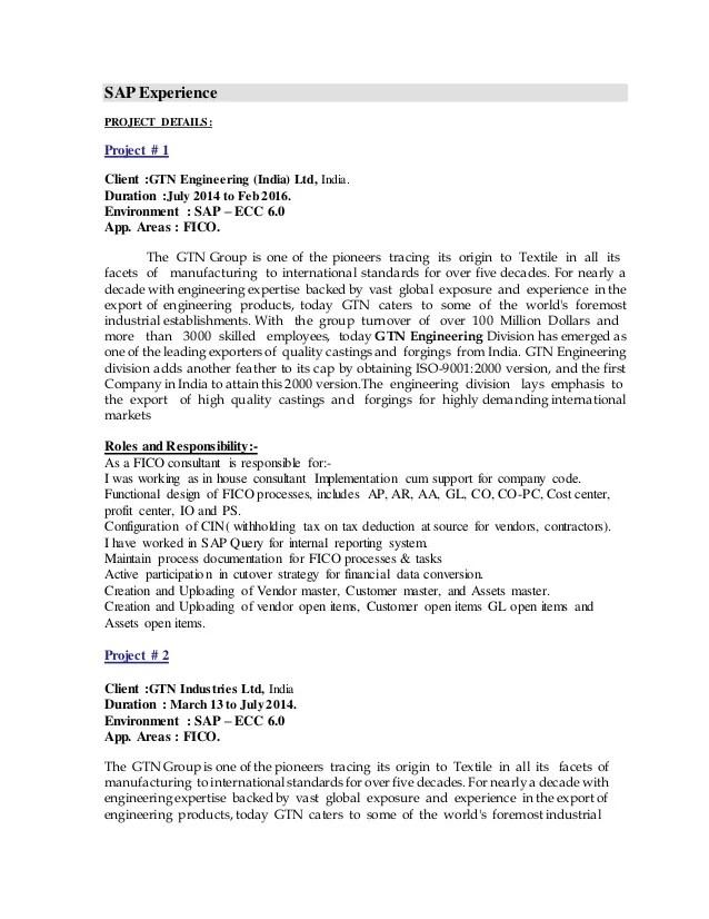sap fico sample resumes sap fico resume sample sap fico sample sap fico resume sample - Sample Sap Resume