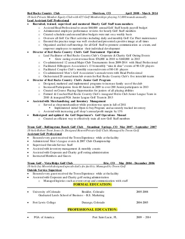 For Golf Course Superintendent Resume