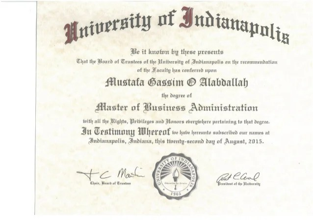 MBA Degree Certificate
