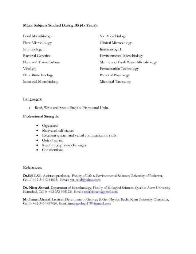 Biosafety cv microbiology officer phd resume