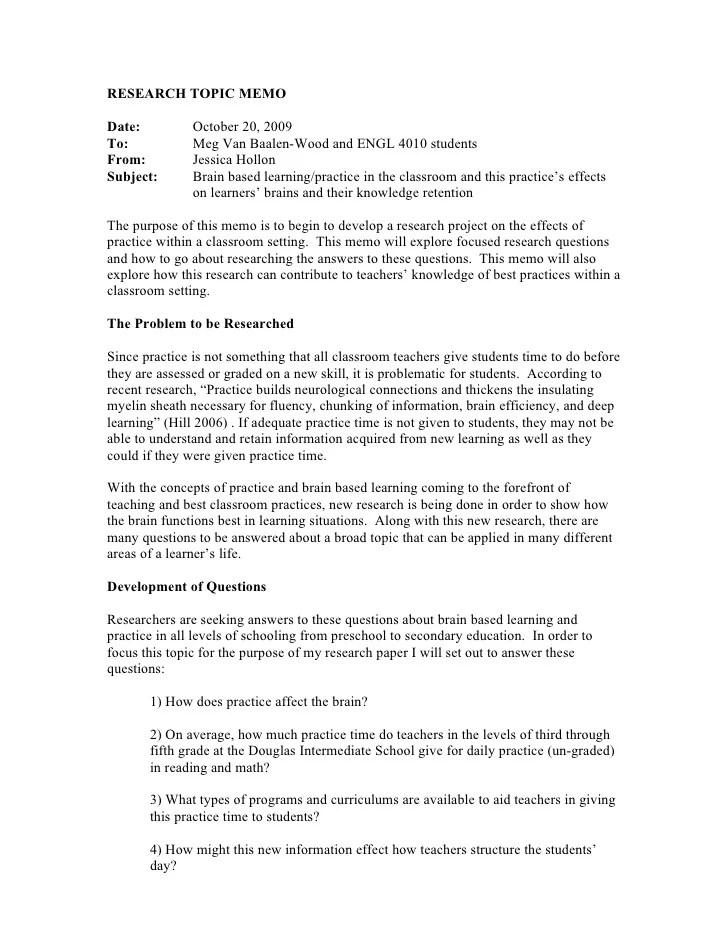 Research paper proposal memo template